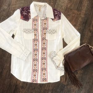 BKE embroidered white on white plaid button down